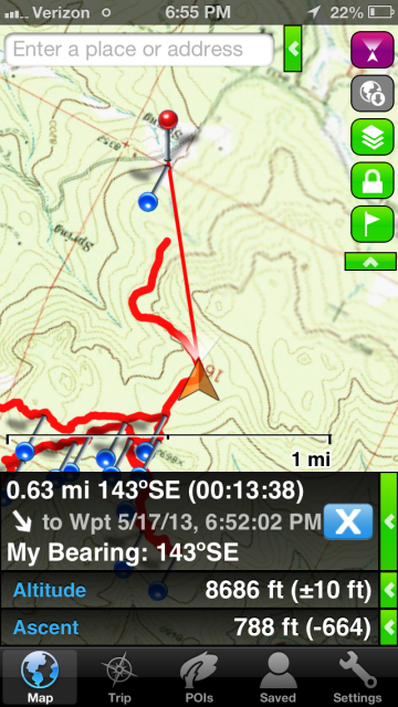 Here, the app is guiding me to a waypoint that I created on the map.