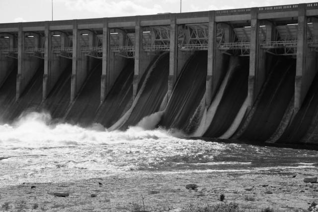Flood gates releasing water