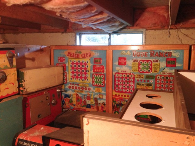 Just a few of the bingo machines stacked in a heap in this basement.
