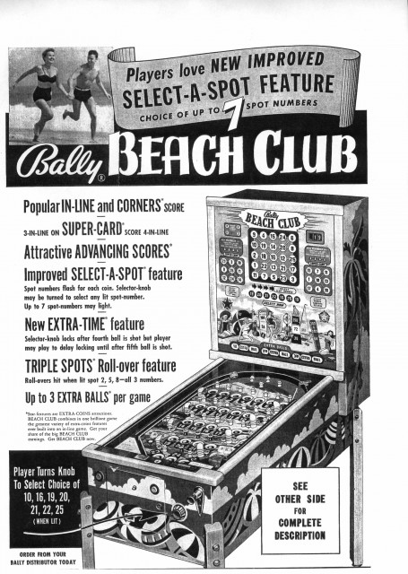 1953 flyer for Bally Beach Club bingo machine.