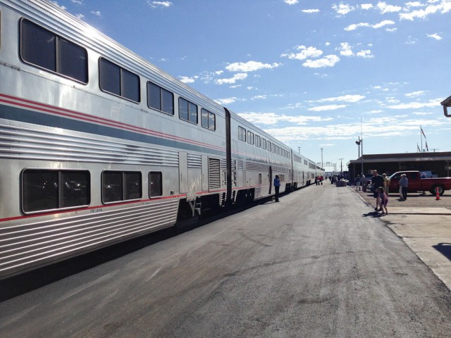 The Southwest Chief, Amtrak train number 3, at La Junta station.