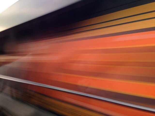 When two trains pass each other at 80 MPH (BNSF locomotive).