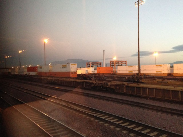 BNSF Freight yards outside of San Bernardino, California.