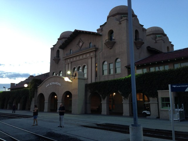 San Bernardino station in the early dawn.