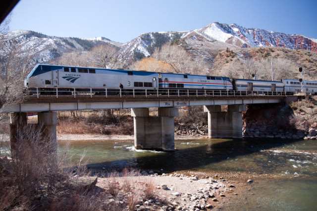 Califorina Zephyr (No. 6) crossing over the Roaring Fork River.